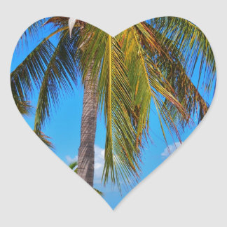 Caribbean palm tree heart sticker
