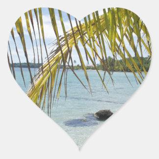 caribbean paradise heart sticker