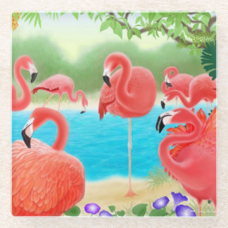 Caribbean Pink Flamingo Birds Glass Coasters Glass Coaster