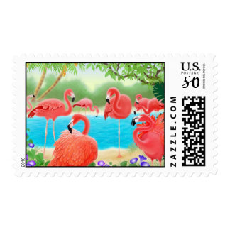 Caribbean Pink Flamingos Postage