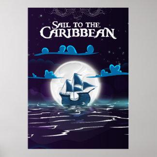 Caribbean Pirate Cartoon Travel print. Poster