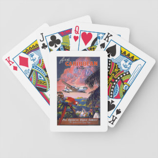 Caribbean Plane Transpacific Flight Vintage Travel Bicycle Playing Cards