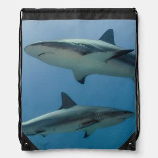 Caribbean Reef Shark Drawstring Bag