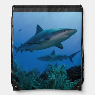 Caribbean Reef Shark Jardines de la Reina Drawstring Bag