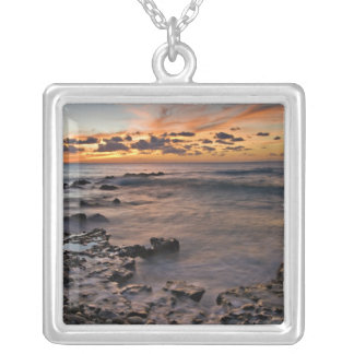Caribbean Sea, Cayman Islands. Crashing waves 2 Square Pendant Necklace
