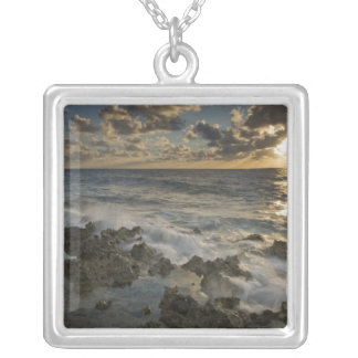 Caribbean Sea, Cayman Islands.  Crashing waves 2 Silver Plated Necklace