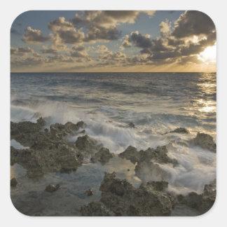Caribbean Sea, Cayman Islands.  Crashing waves 2 Square Sticker