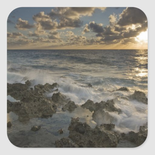 Caribbean Sea, Cayman Islands.  Crashing waves 2 Stickers