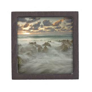 Caribbean Sea, Cayman Islands.  Crashing waves 3 Jewelry Box