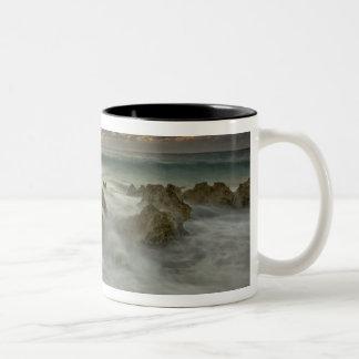 Caribbean Sea, Cayman Islands.  Crashing waves 3 Two-Tone Coffee Mug