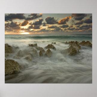 Caribbean Sea, Cayman Islands.  Crashing waves 3 Poster