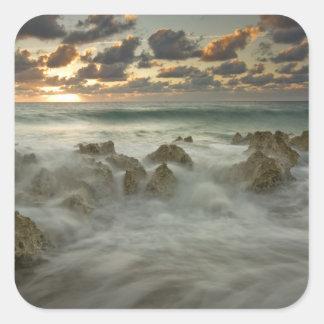 Caribbean Sea, Cayman Islands.  Crashing waves 3 Square Sticker