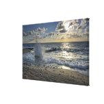 Caribbean Sea, Cayman Islands.  Crashing waves Canvas Print