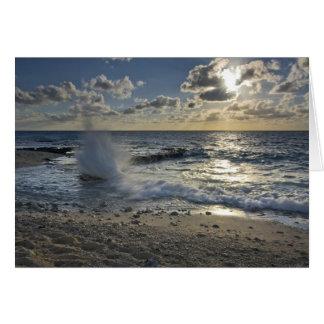 Caribbean Sea, Cayman Islands.  Crashing waves Card