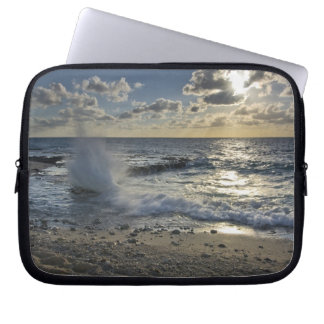 Caribbean Sea, Cayman Islands.  Crashing waves Laptop Sleeve
