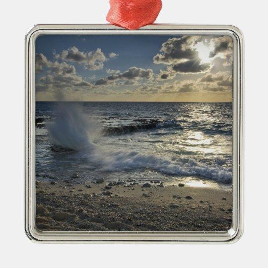 Caribbean Sea, Cayman Islands.  Crashing waves Metal Ornament