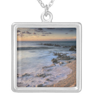 Caribbean Sea, Cayman Islands. Crashing waves Square Pendant Necklace