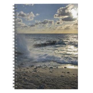 Caribbean Sea, Cayman Islands.  Crashing waves Notebook