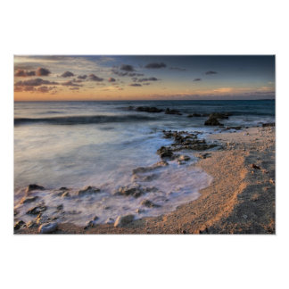 Caribbean Sea, Cayman Islands. Crashing waves Poster