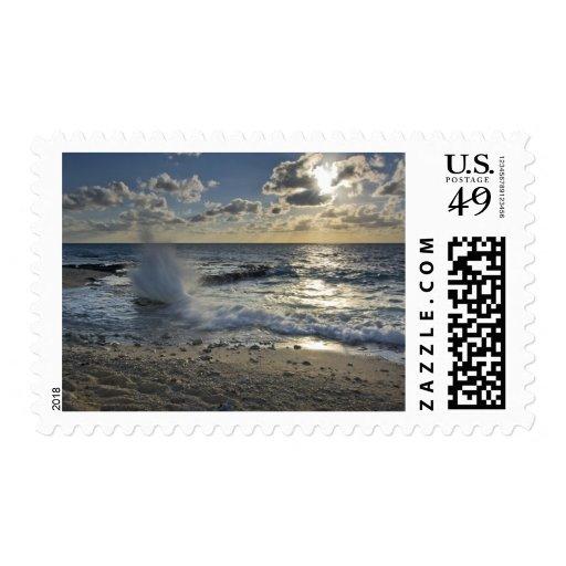Caribbean Sea, Cayman Islands.  Crashing waves Stamps