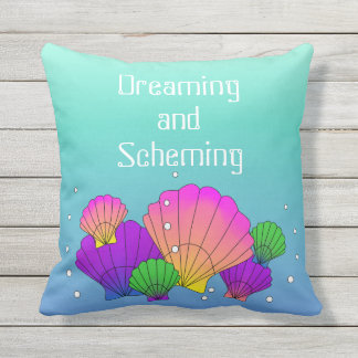 Caribbean Sea Shells and Bubbles Dreaming Scheming Outdoor Pillow