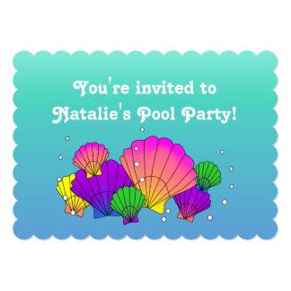 Caribbean Sea Shells with Bubbles 5x7 Paper Invitation Card