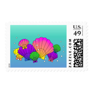 Caribbean Sea Shells with Bubbles (Ombre) Postage