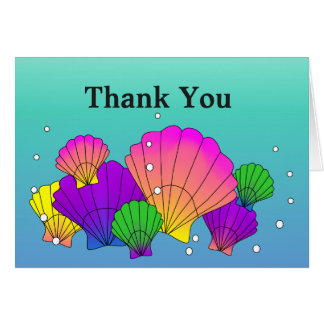 Caribbean Sea Shells with Bubbles Thank You Card