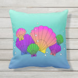 Caribbean Sea Shells with Bubbles Throw Pillow