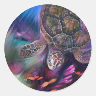 Caribbean Sea Turtles Classic Round Sticker