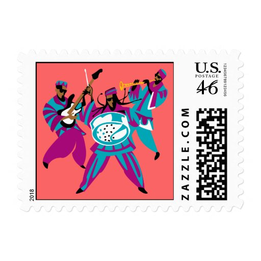 Caribbean Sounds Blue Postage Stamps