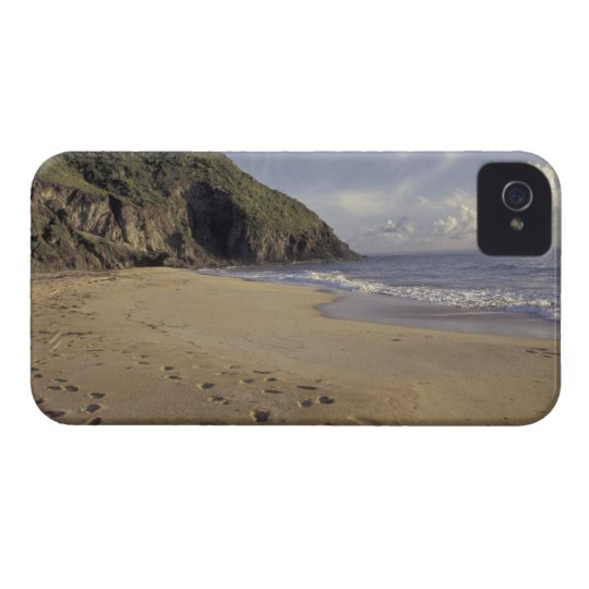 Caribbean, St. Kitts. Footprints on Atlantic iPhone 4 Cover