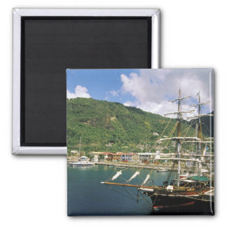 Caribbean, St. Lucia, Soufriere. Boats in 2 Inch Square Magnet