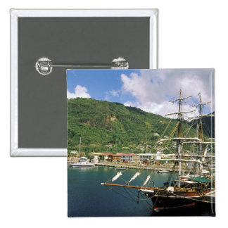 Caribbean, St. Lucia, Soufriere. Boats in 2 Inch Square Button