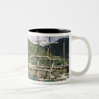 Caribbean, St. Lucia, Soufriere. Boats in Two-Tone Coffee Mug