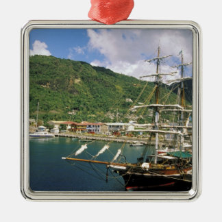 Caribbean, St. Lucia, Soufriere. Boats in Square Metal Christmas Ornament