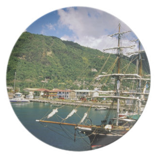 Caribbean, St. Lucia, Soufriere. Boats in Dinner Plates
