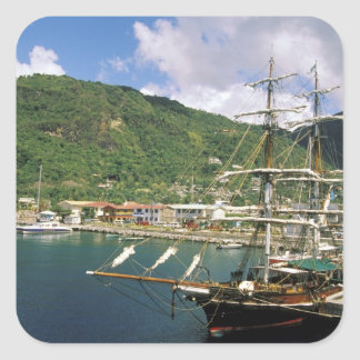 Caribbean, St. Lucia, Soufriere. Boats in Square Sticker
