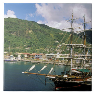 Caribbean, St. Lucia, Soufriere. Boats in Large Square Tile