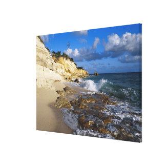 Caribbean, St. Martin, Cliffs at Cupecoy beach Canvas Print
