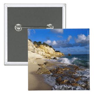 Caribbean, St. Martin, Cliffs at Cupecoy beach Pinback Button