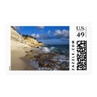 Caribbean, St. Martin, Cliffs at Cupecoy beach Postage