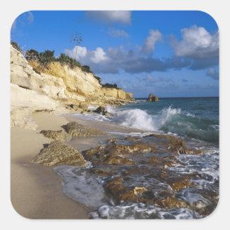 Caribbean, St. Martin, Cliffs at Cupecoy beach Square Sticker