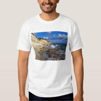 Caribbean, St. Martin, Cliffs at Cupecoy beach Tee Shirt