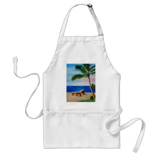 Caribbean Strand with Beach Chairs Adult Apron