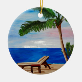 Caribbean Strand with Beach Chairs Christmas Tree Ornaments