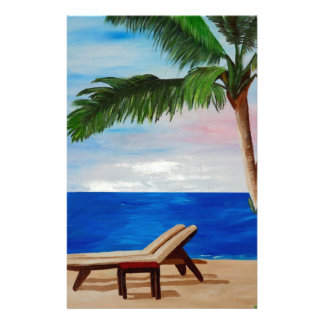 Caribbean Strand with Beach Chairs Stationery Paper
