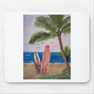 Caribbean Strand with Surf Boards Mouse Pad