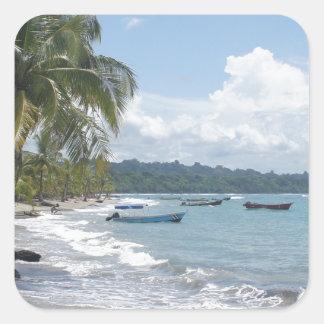 caribbean summer square sticker