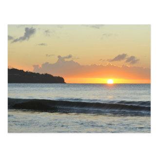 Caribbean sunset postcard